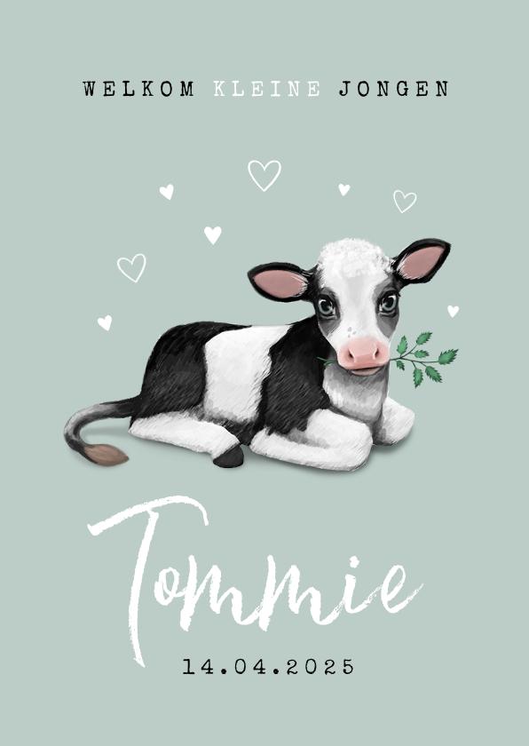 Geboortekaartjes - Lente geboortekaartje koe hartjes unisex dieren