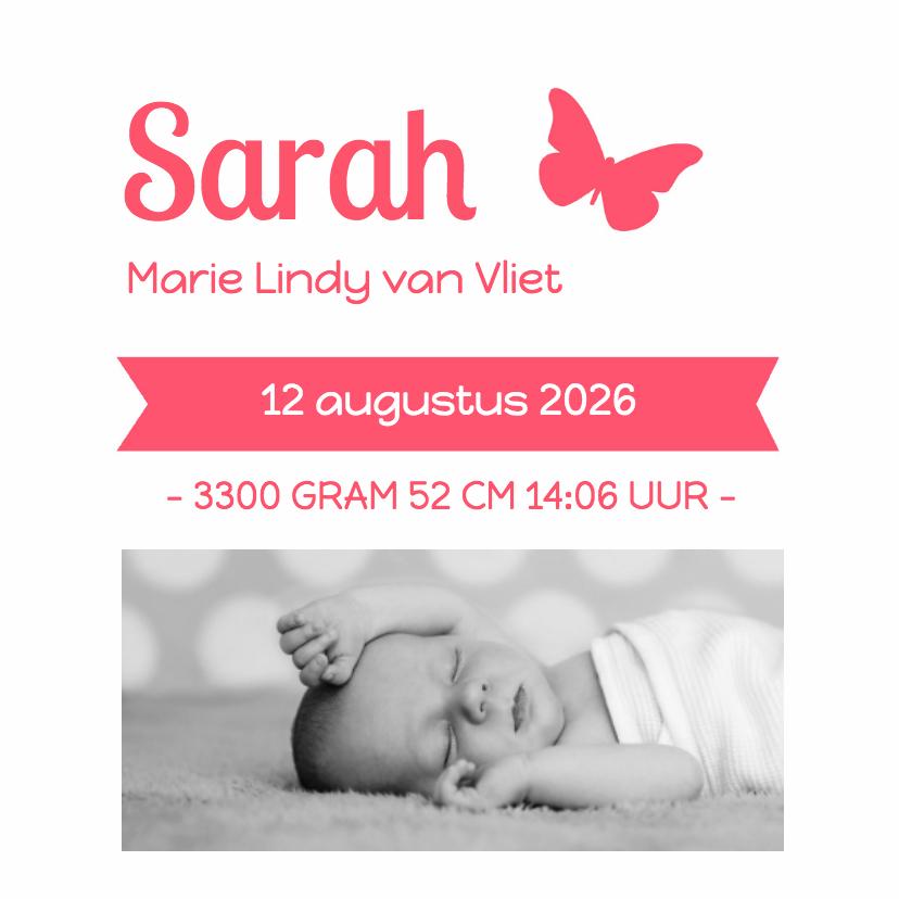 Geboortekaartjes - Letterpress roze vlinder - DH