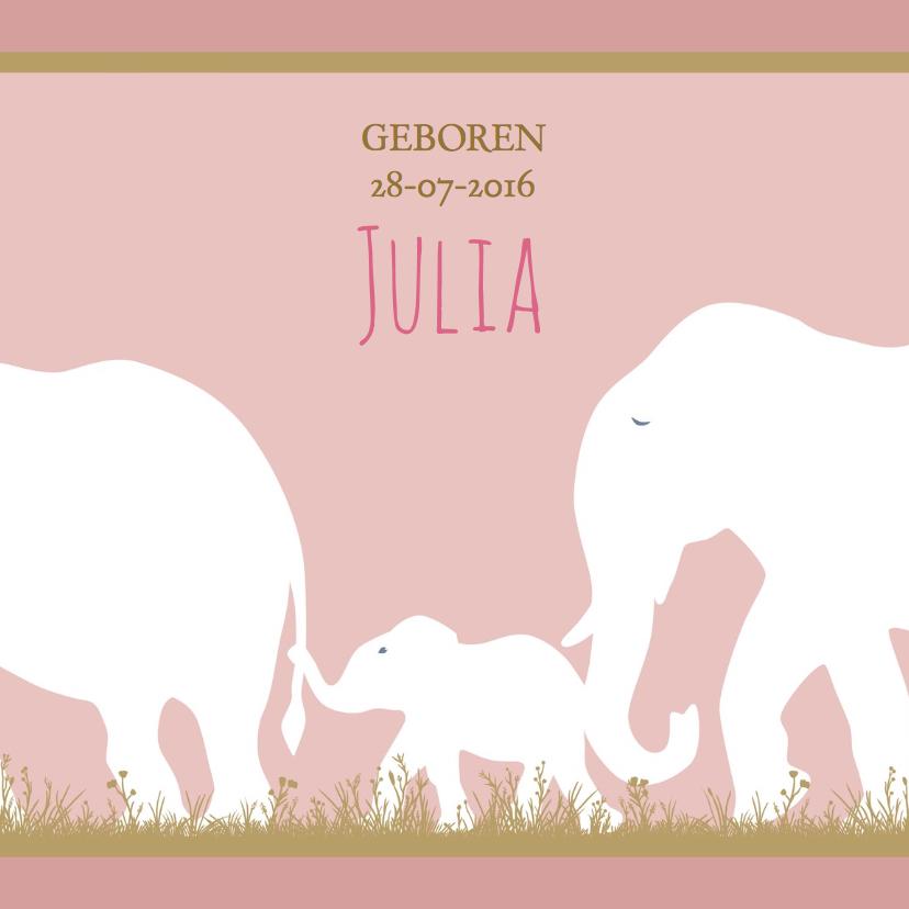 Geboortekaartjes - Leuk geboortekaartje met olifantje voor geboorte dochter