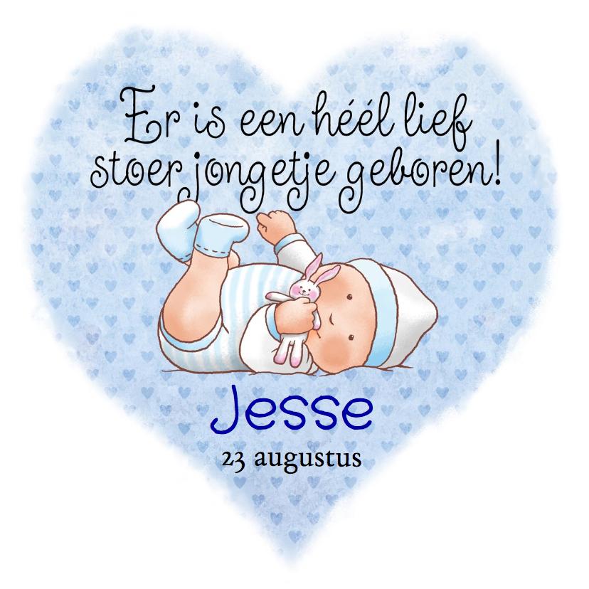 Geboortekaartjes - Leuk geboortekaartje stoer jongetje op blauw hart