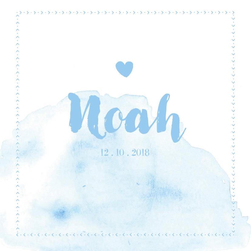 Geboortekaartjes - Lichtblauw geboortekaartje met waterverf