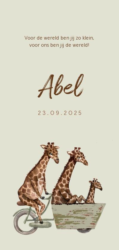 Geboortekaartjes - Lichtgroen geboortekaartje met giraffen op een fiets