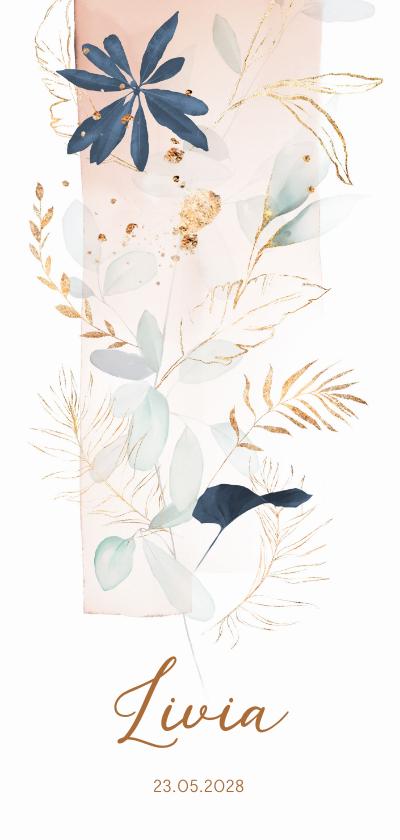 Geboortekaartjes - Lief aquarel bloemen geboortekaartje meisje