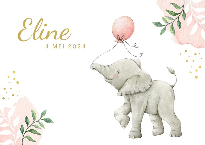 Geboortekaartjes - Lief botanisch geboortekaartje met olifantje in aquarel