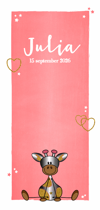 Geboortekaartjes - Lief en hip geboortekaartje meisje girafje
