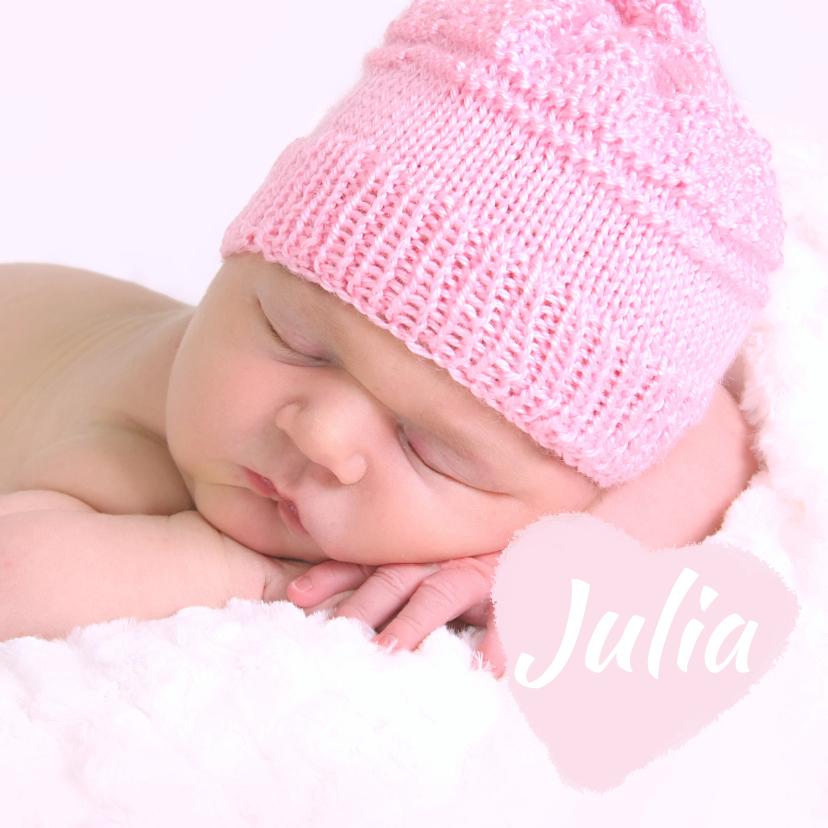 Geboortekaartjes - Lief foto geboortekaartje hart meisje