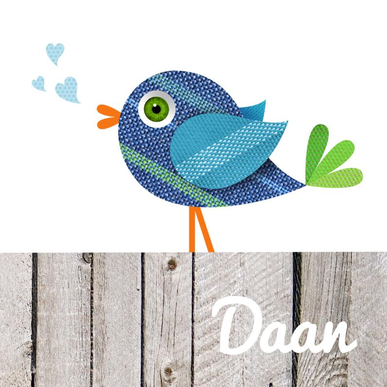 Geboortekaartjes - Lief geboortekaartje blauw vogeltje