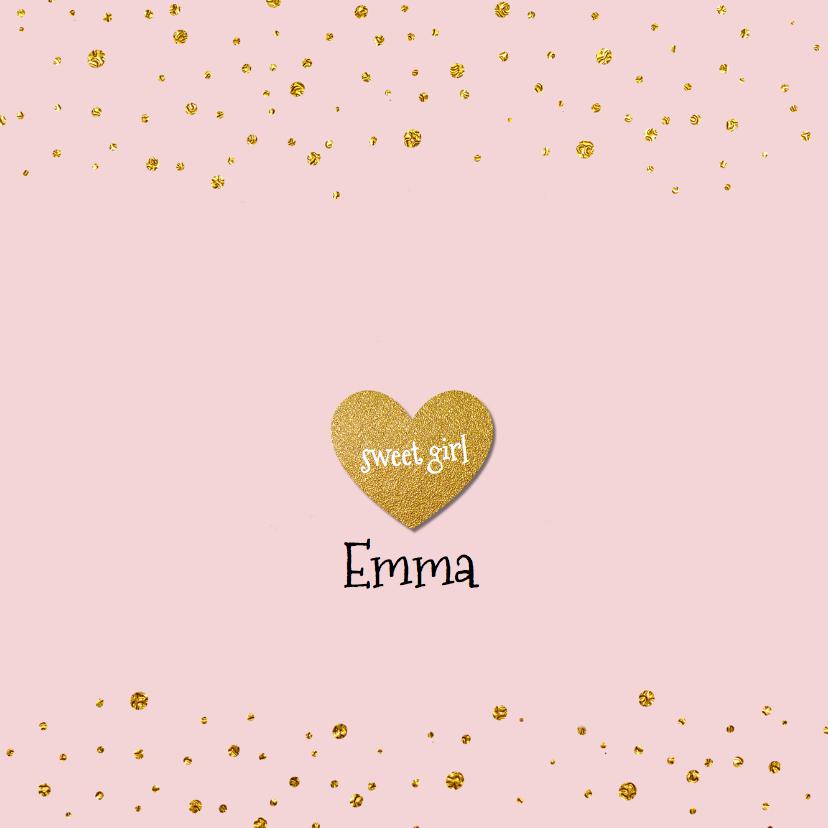 Geboortekaartjes - Lief geboortekaartje goud confetti