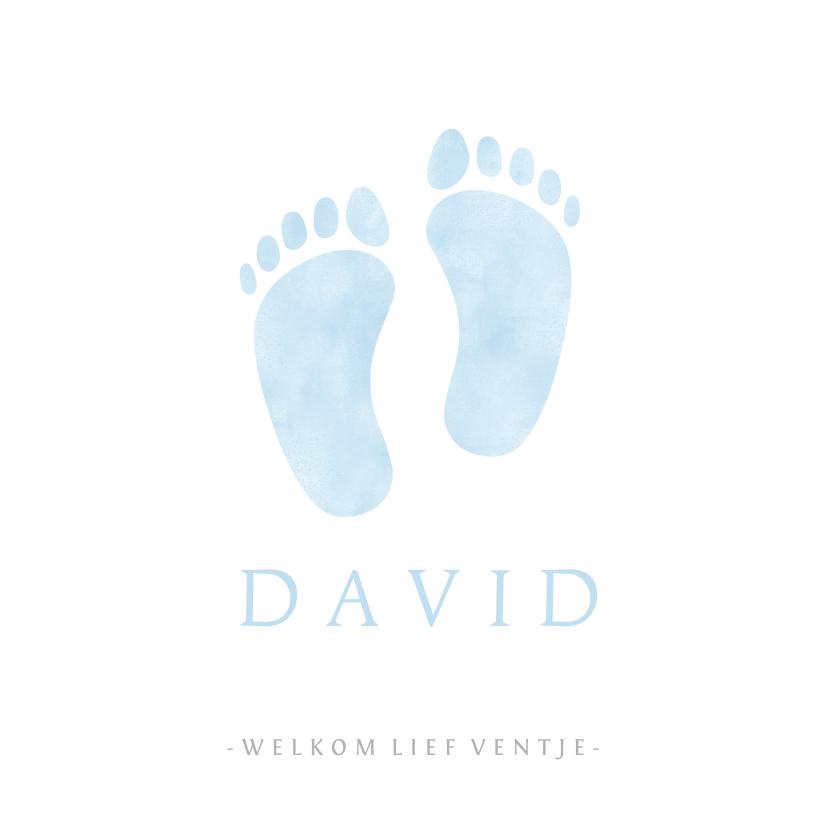 Geboortekaartjes - Lief geboortekaartje jongen met blauwe baby voetjes