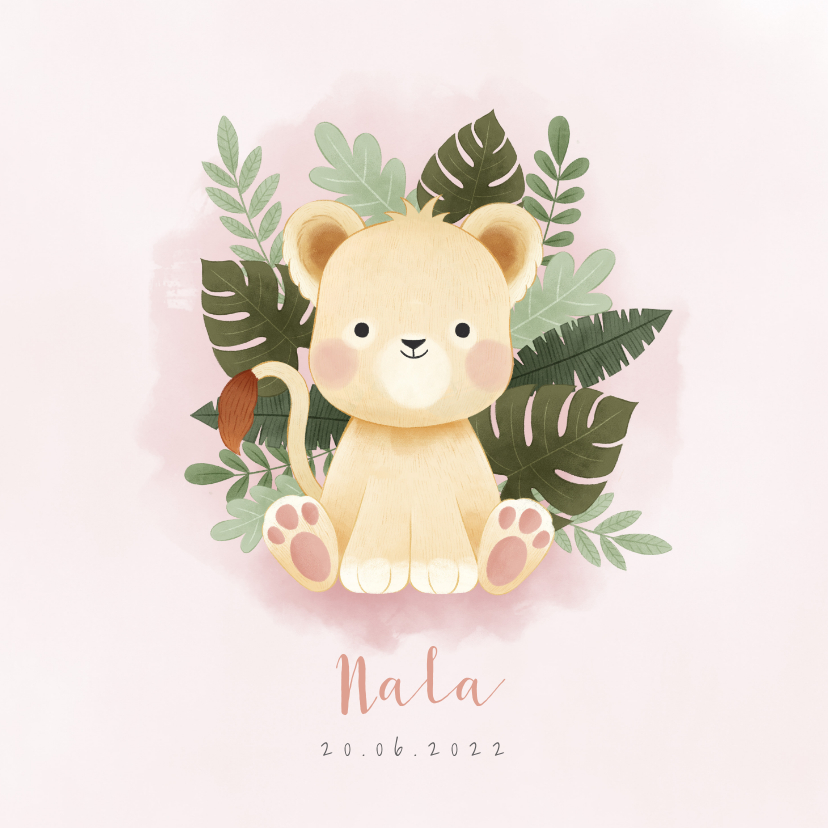 Geboortekaartjes - Lief geboortekaartje meisje met leeuw, plantjes en waterverf
