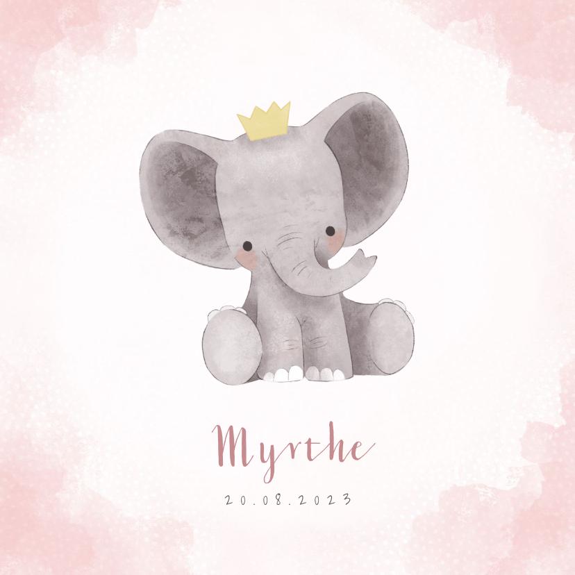 Geboortekaartjes - Lief geboortekaartje meisje met olifant en kroontje