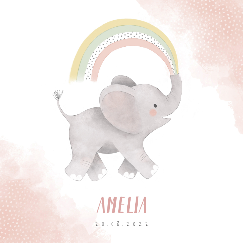 Geboortekaartjes - Lief geboortekaartje meisje olifant, regenboog en waterverf