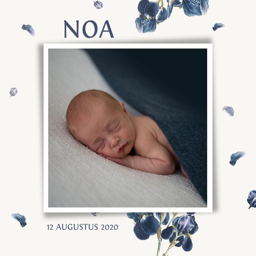 Geboortekaartjes - Lief geboortekaartje met blauwe jasmijn bloemen