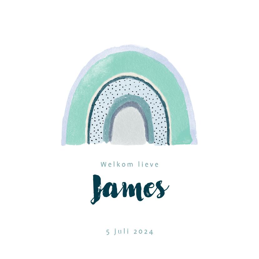 Geboortekaartjes - Lief geboortekaartje met blauwe waterverf regenboog