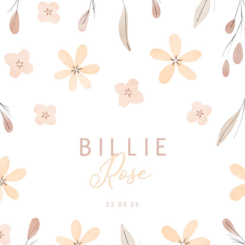 Geboortekaartjes - Lief geboortekaartje met bloemetjes en takjes