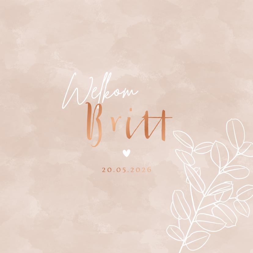 Geboortekaartjes - Lief geboortekaartje met eucalyptus takje en waterverf