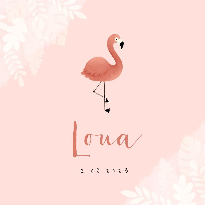 Geboortekaartjes - Lief geboortekaartje met flamingo, jungle en waterverf