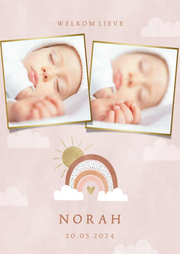 Geboortekaartjes - Lief geboortekaartje met foto's, regenboog en wolkjes