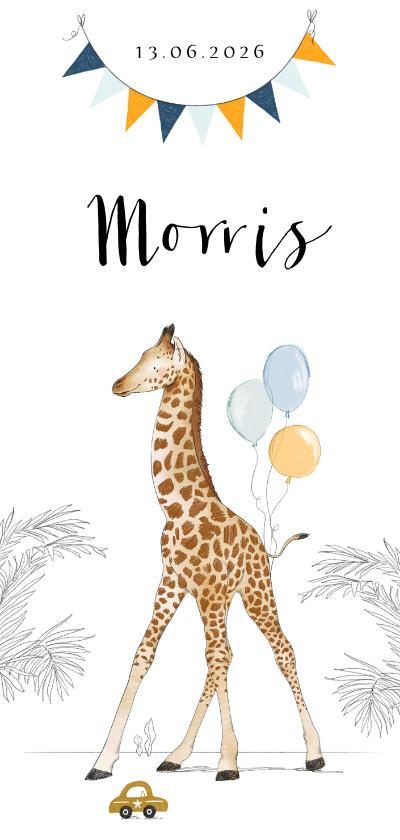 Geboortekaartjes - Lief geboortekaartje met geillustreerde giraf en vlaggenlijn