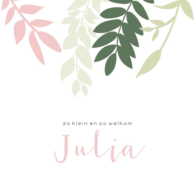 Geboortekaartjes - Lief geboortekaartje met groene en roze takjes