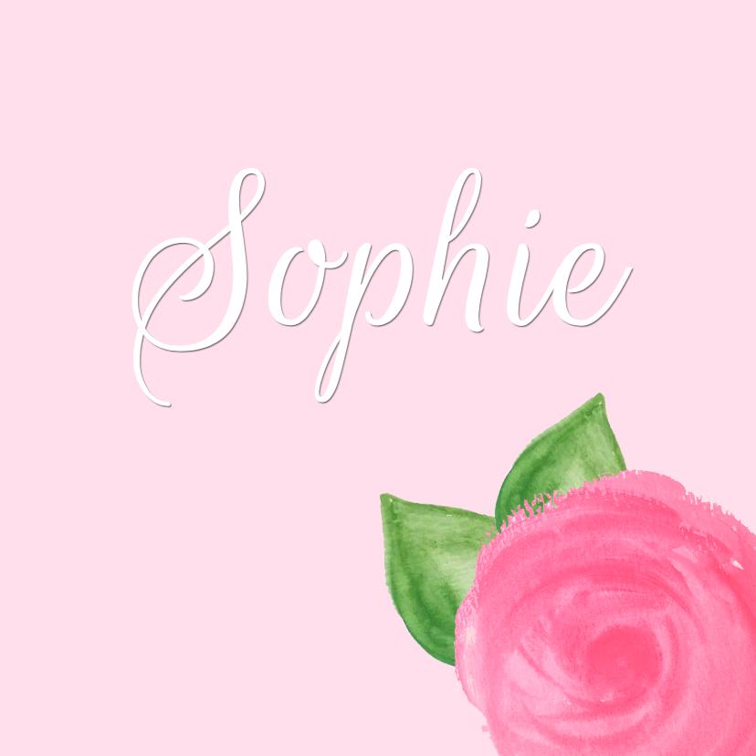 Geboortekaartjes - Lief geboortekaartje met roos