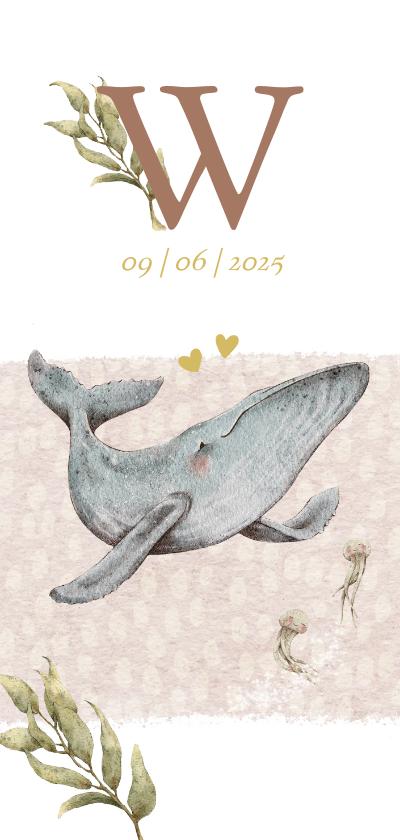 Geboortekaartjes - Lief geboortekaartje met schattig walvisje in de zee