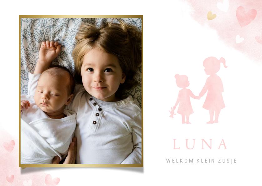Geboortekaartjes - Lief geboortekaartje met silhouet 2 zusjes en eigen foto