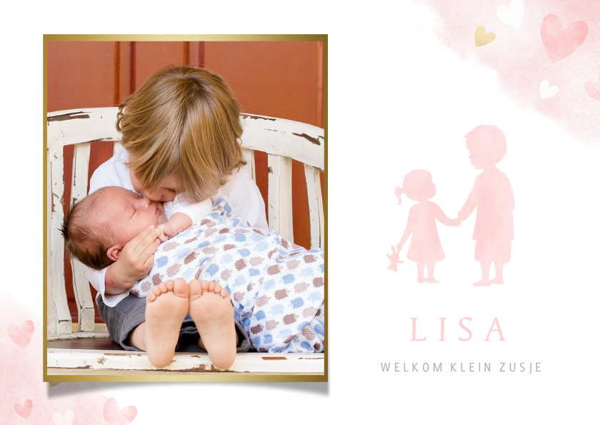 Geboortekaartjes - Lief geboortekaartje met silhouet broer en zusje en foto