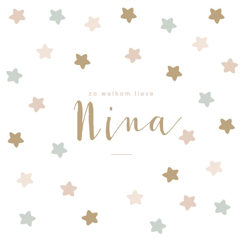 Geboortekaartjes - Lief geboortekaartje met sterren in zachte pasteltinten