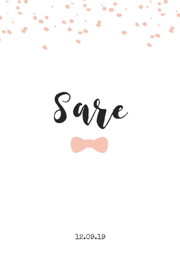 Geboortekaartjes - Lief geboortekaartje met strikje en confetti