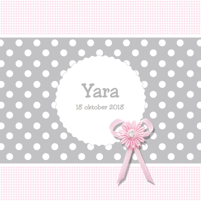 Geboortekaartjes - Lief geboortekaartje met strikje - Yara