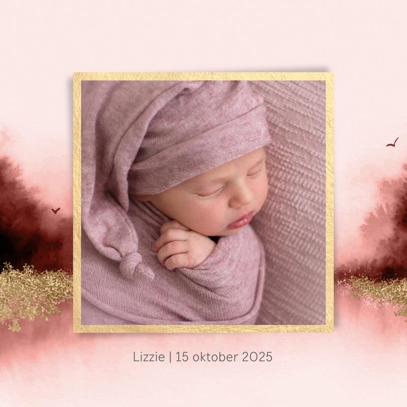 Geboortekaartjes - Lief geboortekaartje met waterverf en eigen foto