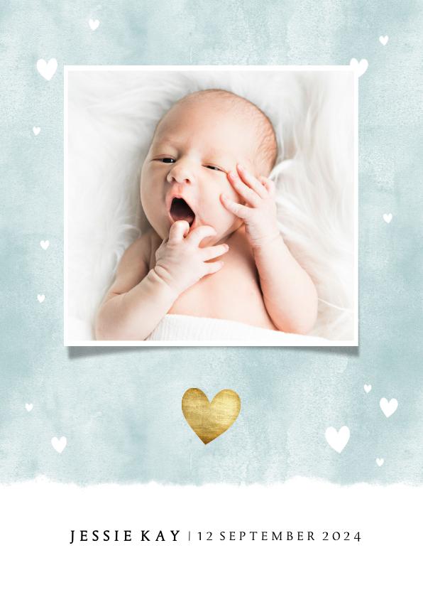 Geboortekaartjes - Lief geboortekaartje met waterverf en hartjes voor jongen