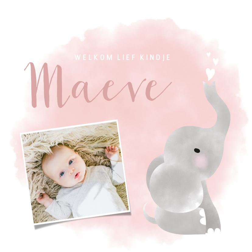 Geboortekaartjes - Lief geboortekaartje olifantje waterverf voor meisje