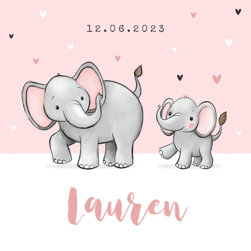 Geboortekaartjes - Lief geboortekaartje olifantjes meisje zusje hartjes roze
