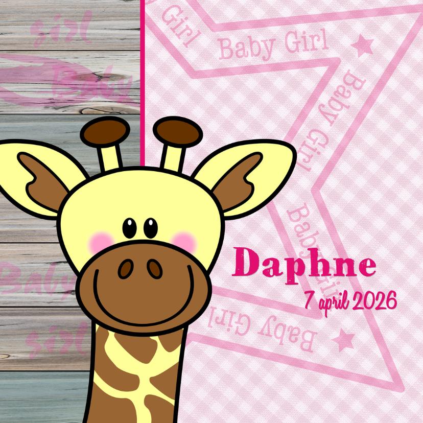 Geboortekaartjes - Lief geboortekaartje ROZE giraf