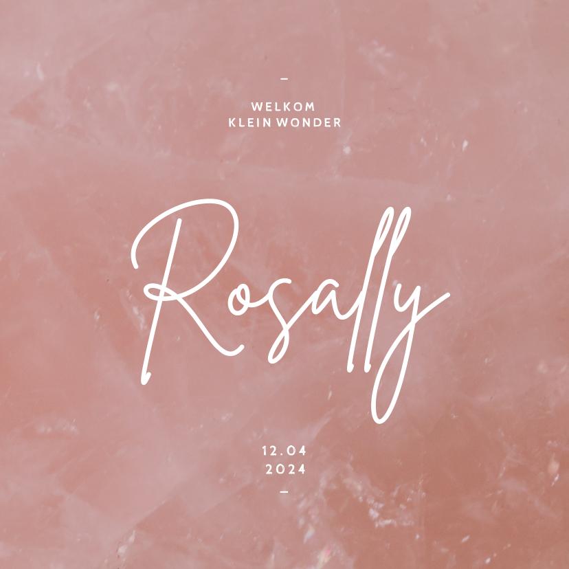 Geboortekaartjes - Lief geboortekaartje stijlvol rozenkwarts minimalistisch