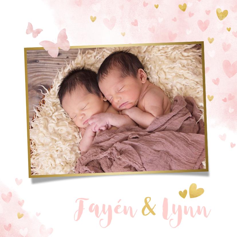 Geboortekaartjes - Lief geboortekaartje voor een meisjes tweeling met hartjes