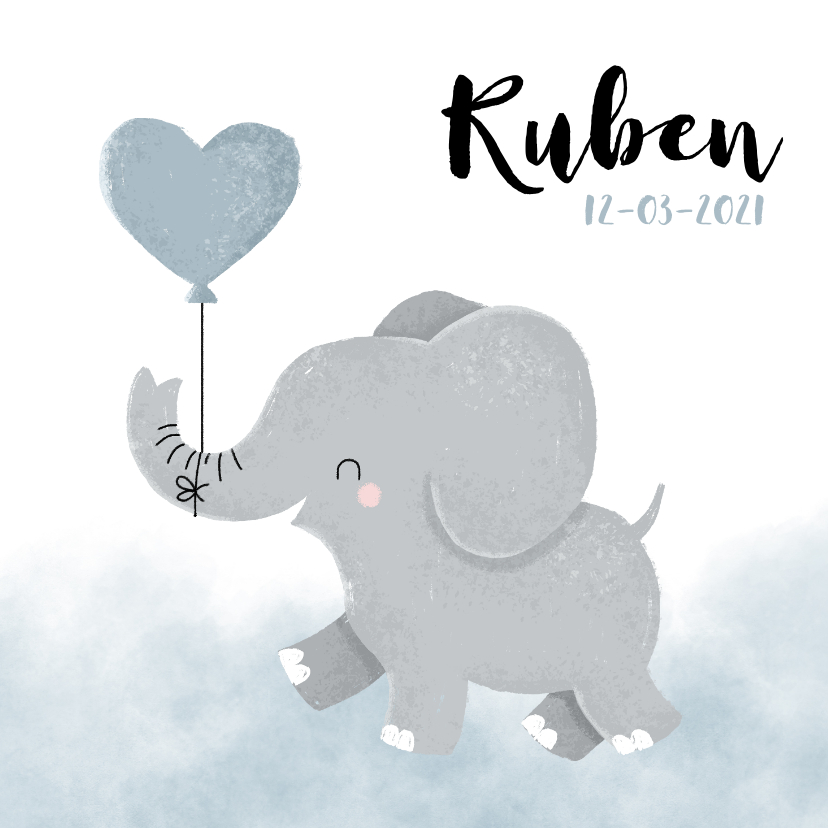 Geboortekaartjes - Lief geboortekaartje voor jongen met olifantje en waterverf