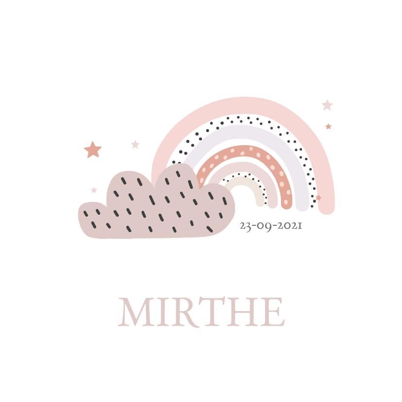 Geboortekaartjes - Lief geboortekaartje voor meisje met regenboog en wolk