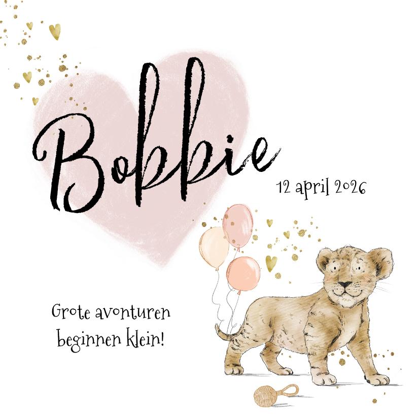 Geboortekaartjes - Lief geboortekaartje welpje hart spetters hartjes goudlook