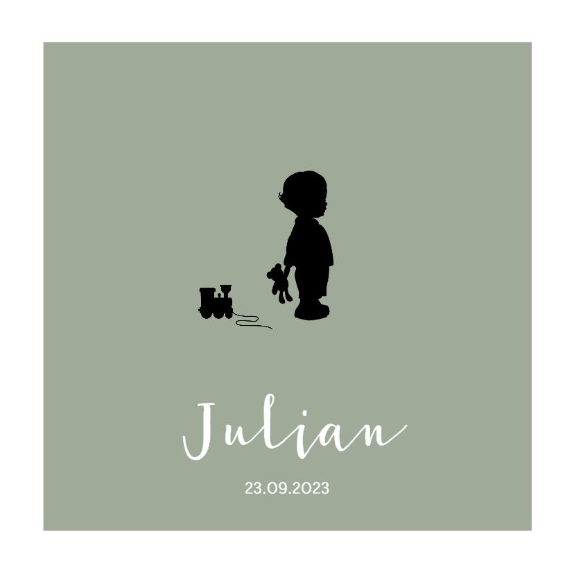 Geboortekaartjes - Lief groen geboortekaartje met silhouetje jongen met trein