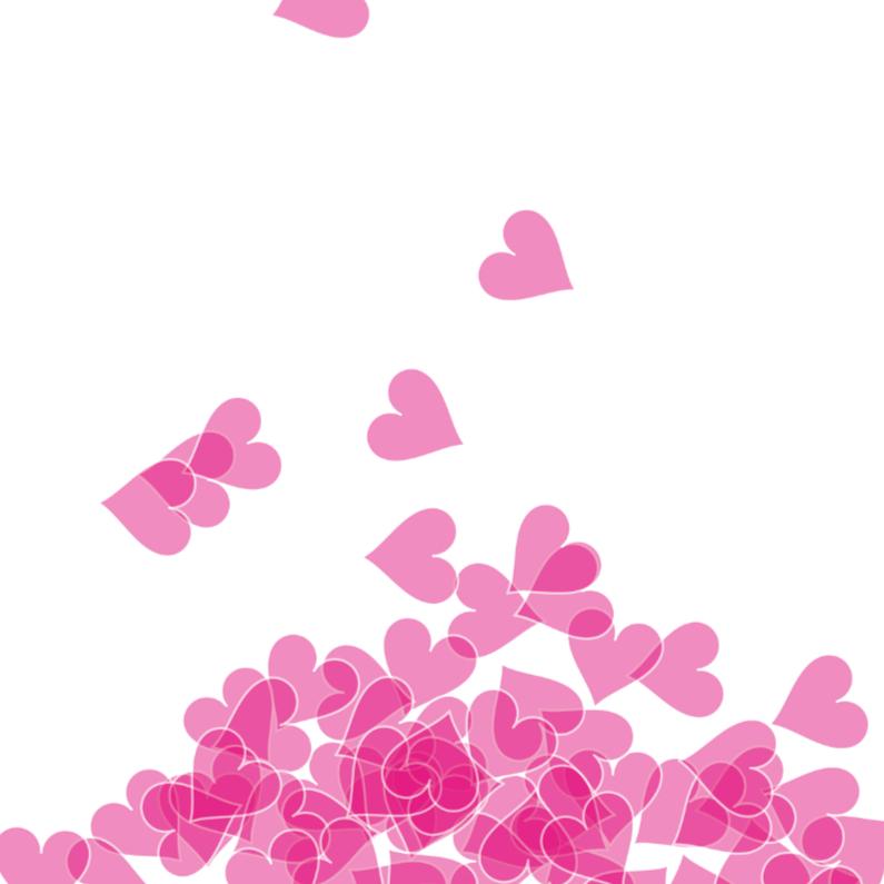 Geboortekaartjes - Lief kaartje met vallende hartjes