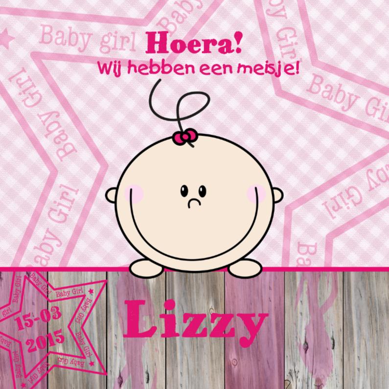 Geboortekaartjes - Lief meisje geboren roze ruit