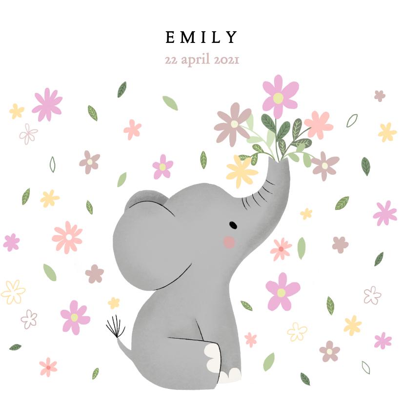 Geboortekaartjes - Lief olifantje en bloemetjes, geboortekaartje voor meisje