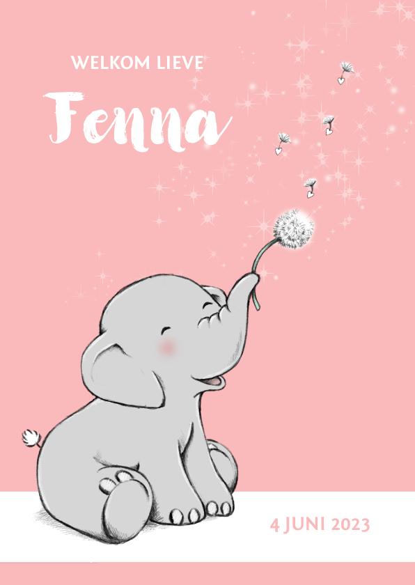 Geboortekaartjes - Lief olifantje en wensbloem geboortekaartje