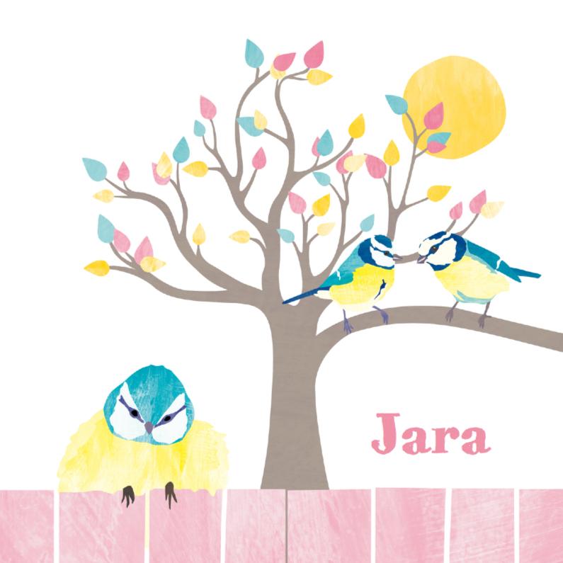 Geboortekaartjes - Lief pimpelmeesje met boom