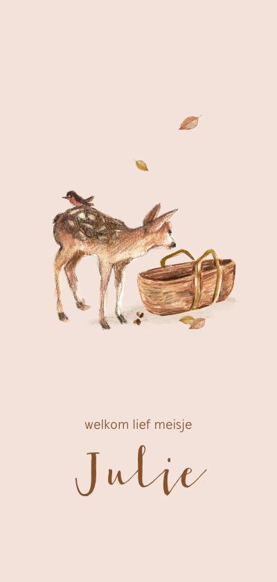 Geboortekaartjes - Lief roze geboortekaartje met bosdieren en een mozes mandje