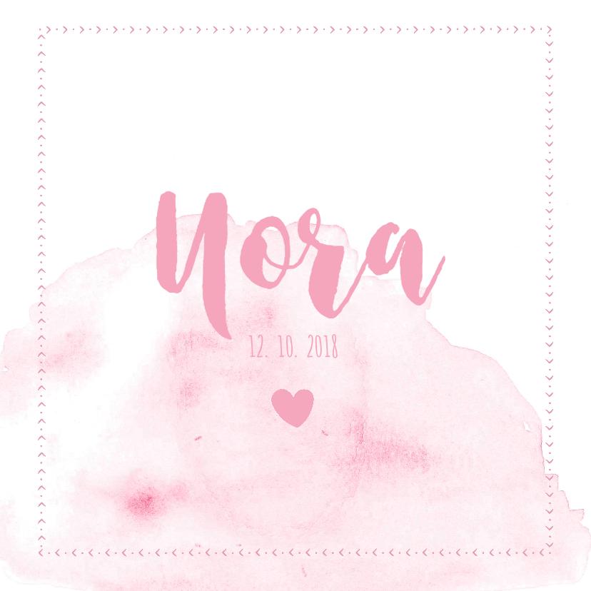 Geboortekaartjes - Lief waterverf vierkant geboortekaartje in het roze