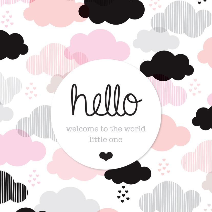 Geboortekaartjes - Lief wolkje geboorte meisje